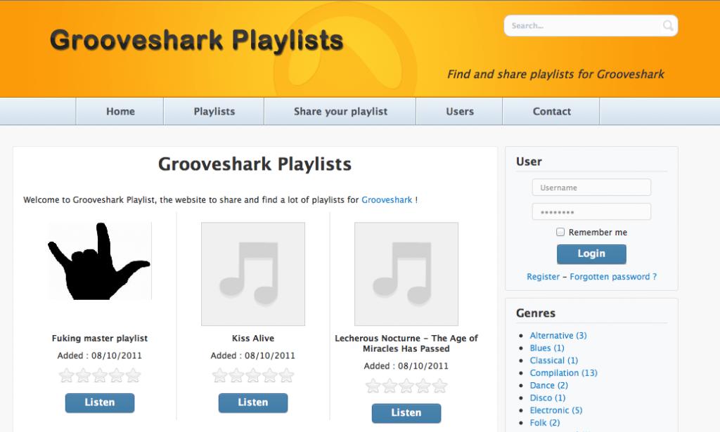 Listas Grooveshark