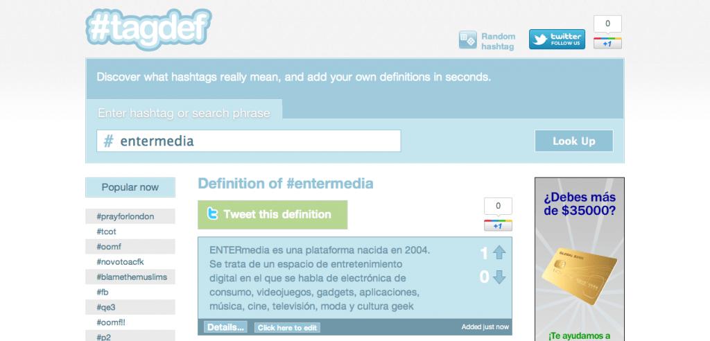 Tagdef: Busca el significado de Hashtags que no conozcas en