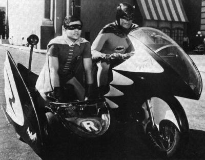 Batman Robin Adam West Batcycle