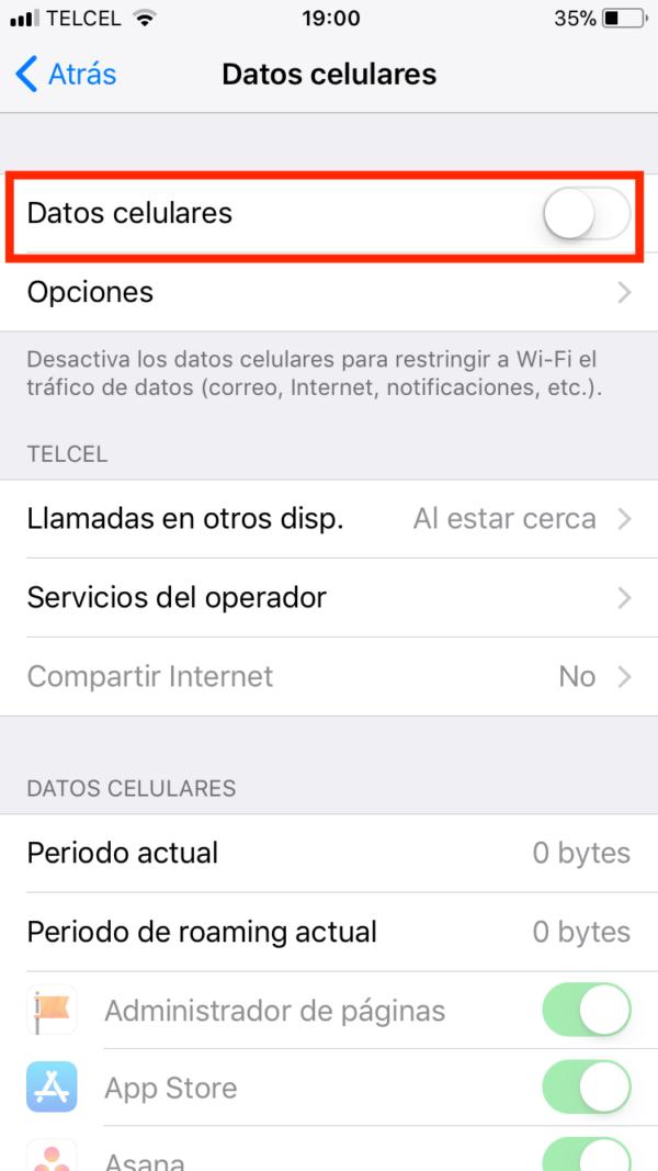checar consumo de datos en iphone