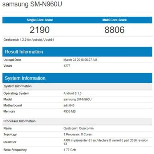 Benchmark del Galaxy Note 9