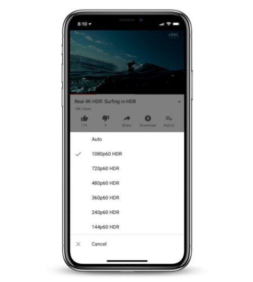 videos HDR de YouTube en el iPhone