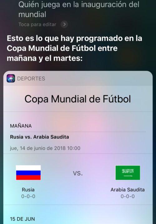 información del Mundial 2018 en iPhone y iPad