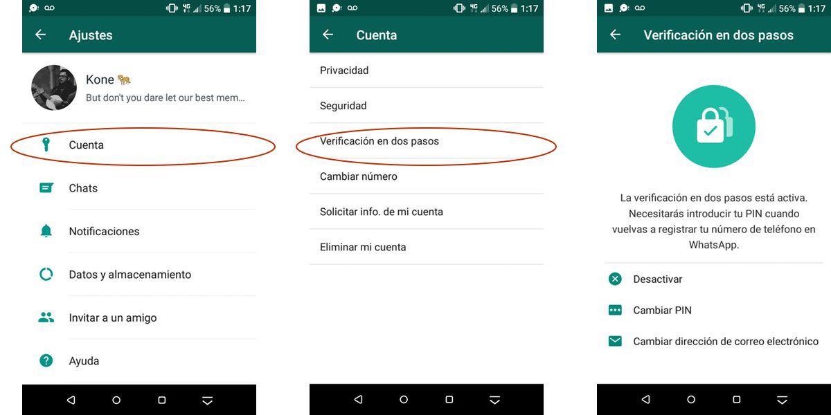 Verificación en dos pasos WhatsApp