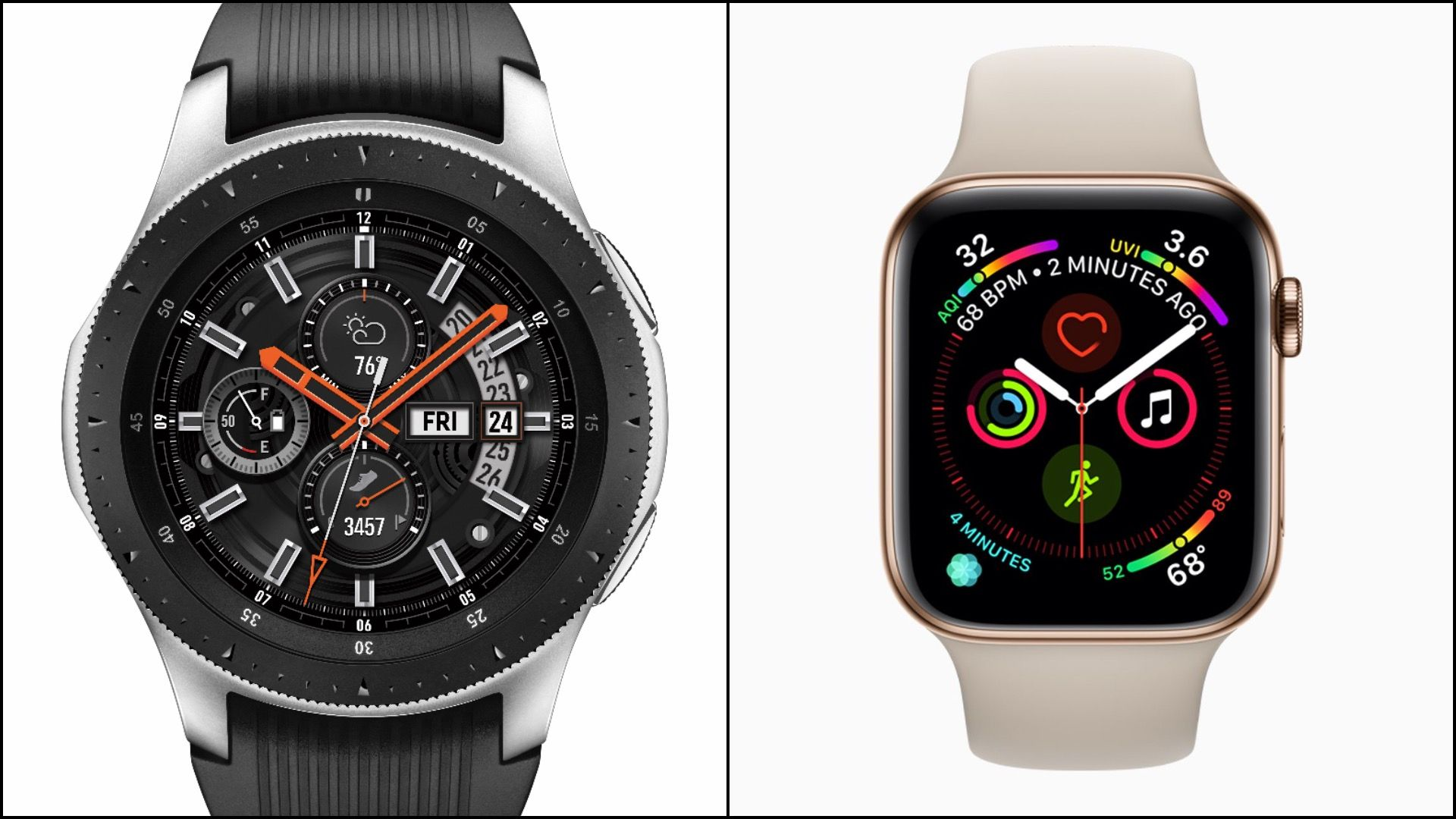 Galaxy Watch versus Apple Watch Series 4.