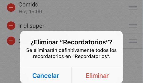 eliminar listas de recordatorios en iPhone y iPad