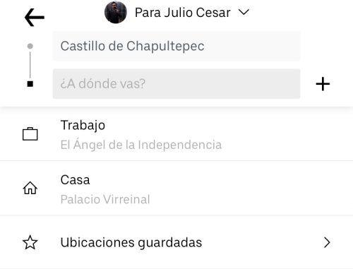 Cómo agregar lugares favoritos en Uber