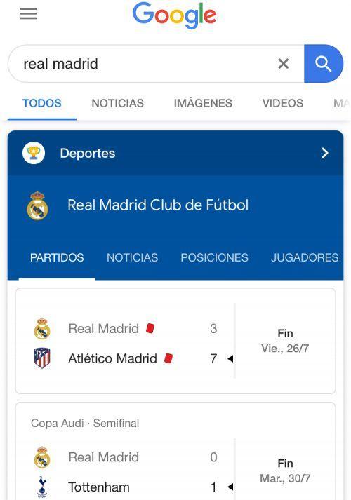 Cómo seguir el marcador de un partido - marcador de un partido en Google