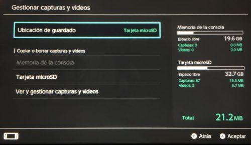 Nintendo Switch Capturas de pantalla