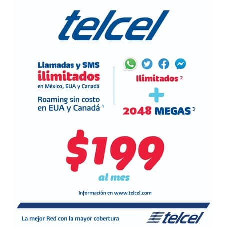 Telcel Plan 199 plan con redes sociales ilimitadas.