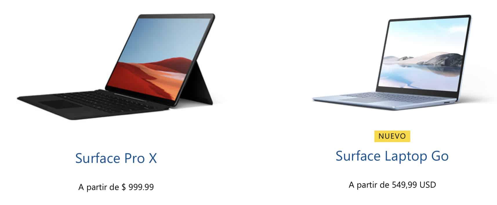 Surface Laptop Go y Surface Pro X