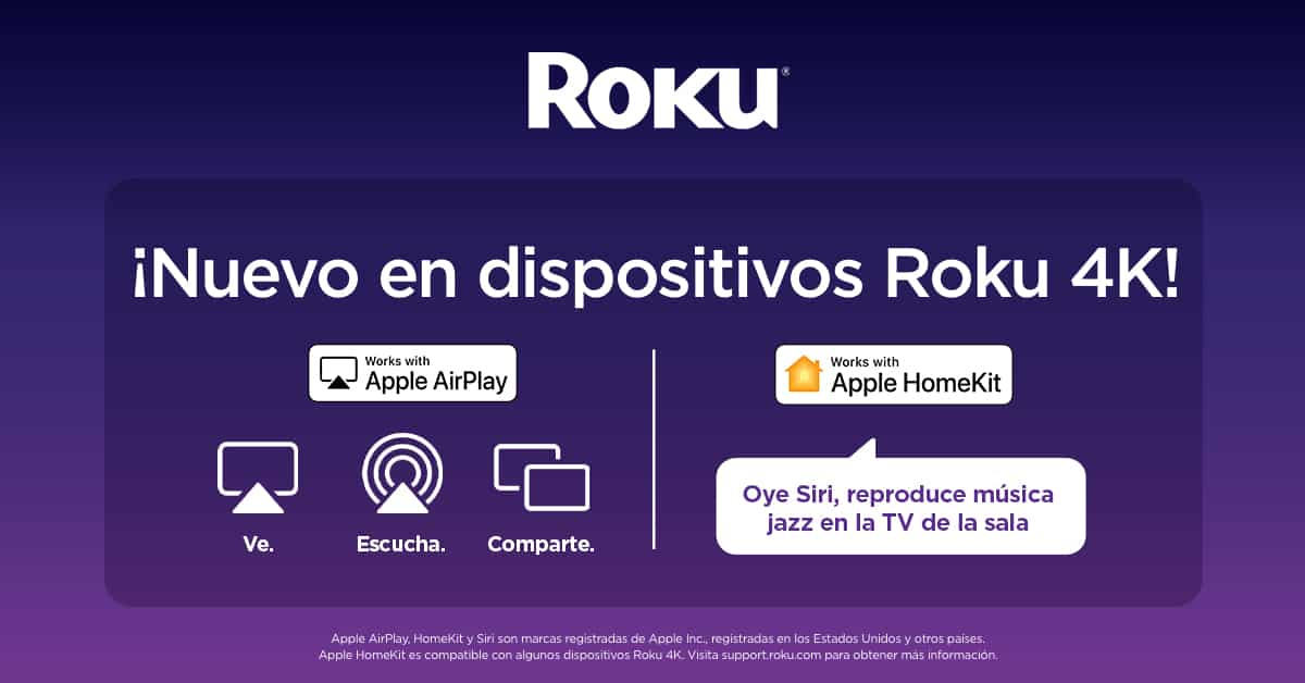 Roku con AirPlay y HomeKit