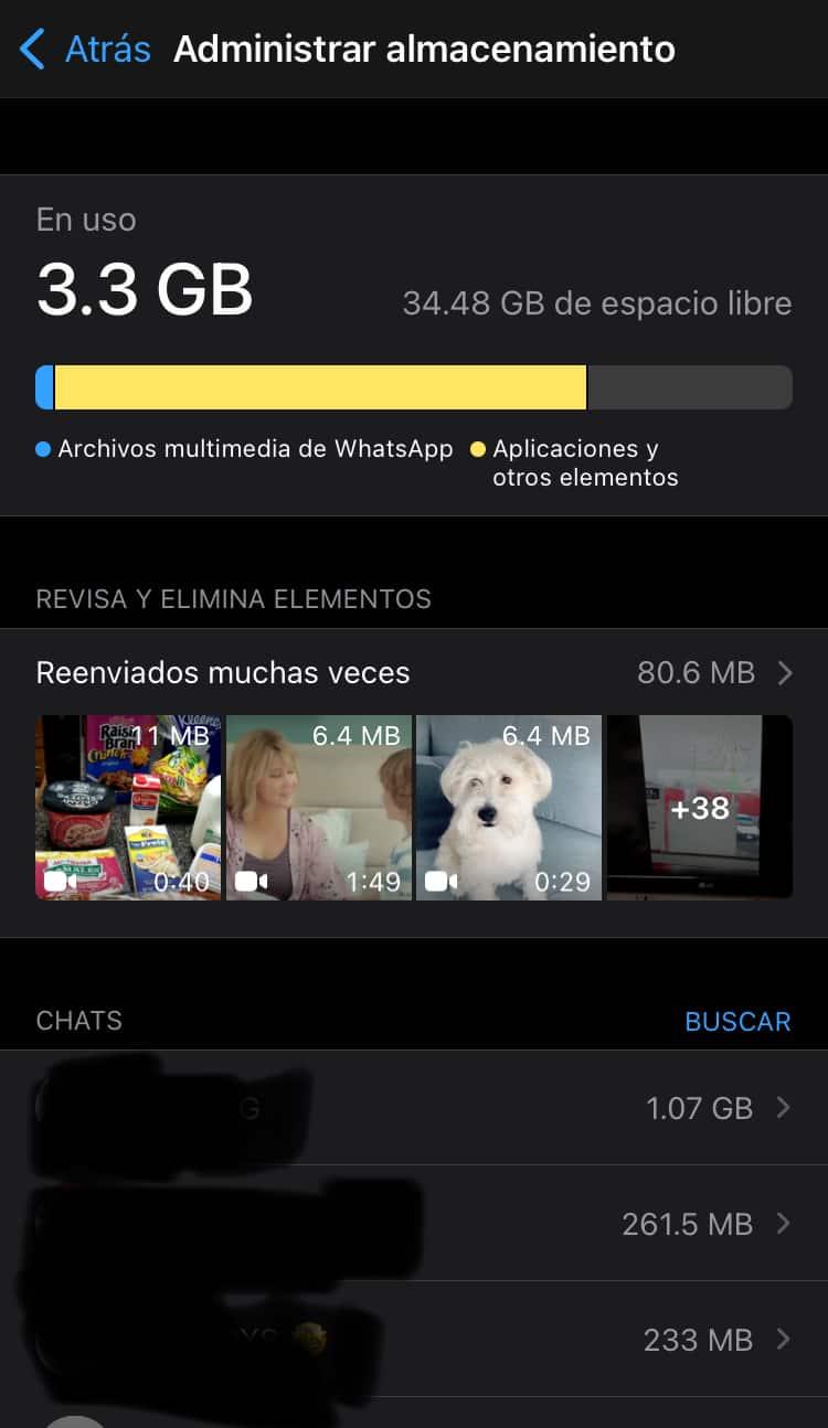 whatsapp almacenamiento