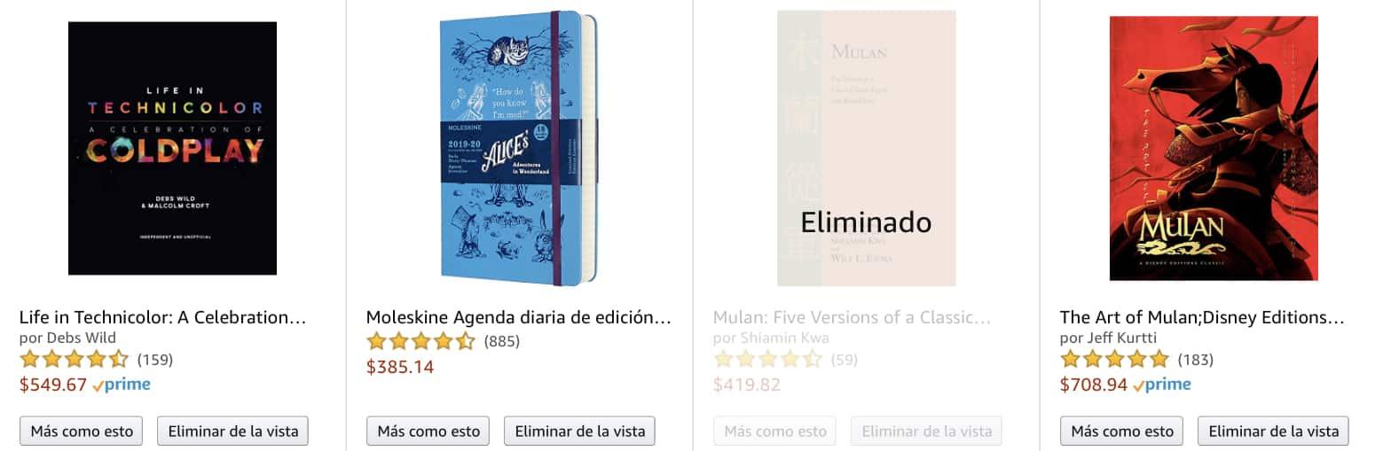 Puedes dejarlos para que Amazon te de recomendaciones de productos con base en tu historial. O también presionar en Eliminar de la vista si algo te da vergüenza.