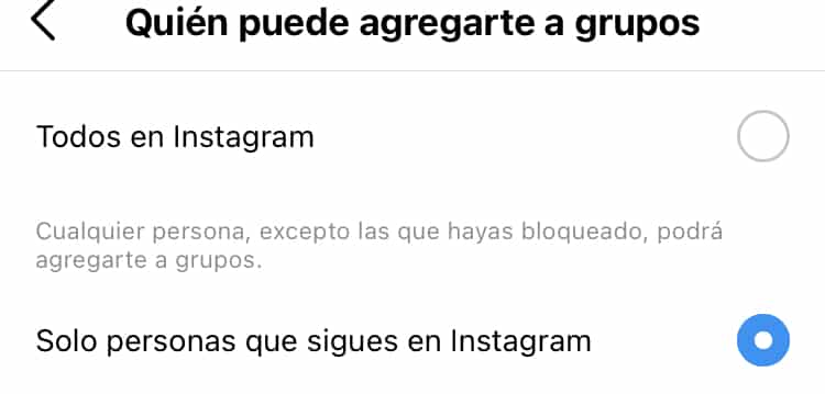 Cómo evitar que me agreguen a grupos en Instagram
