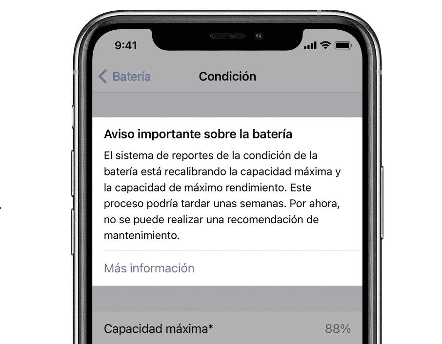 recalibración de batería del iPhone 11 iOS 14.5
